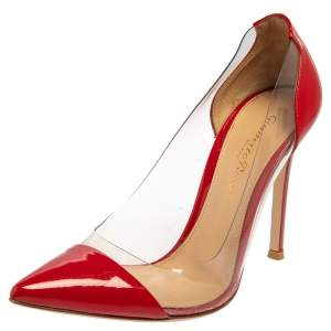 Gianvito Rossi Red Patent Leather and PVC Plexi  Pumps Size 36
