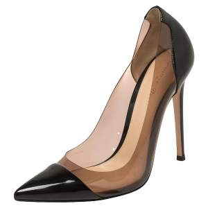 Gianvito Rossi Black Patent Leather and PVC Plexi Pointed Toe Pumps Size 38.5