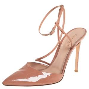 Gianvito Rossi Beige Patent Leather Ankle Strap Sandals Size 40