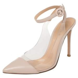 Gianvito Rossi Light Beige Leather And PVC Anise Pointed Toe Ankle Strap Sandals Size 39