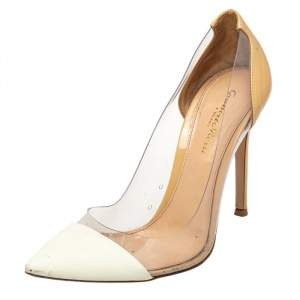 Gianvito Rossi White Leather And PVC Plexi Pointed Toe Pumps Size 38