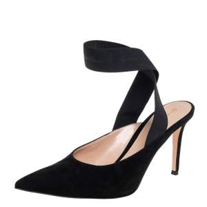 Gianvito Rossi Black Suede And Elastic Strap Pointed Toe Ankle Wrap Sandals Size 40.5