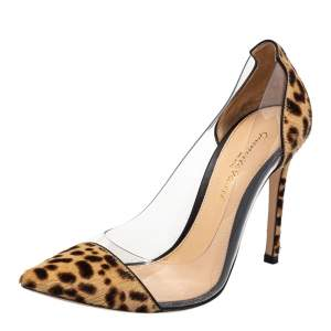 Gianvito Rossi Beige/Brown Calf Hair And PVC Plexi Pointed Toe Pumps Size 36
