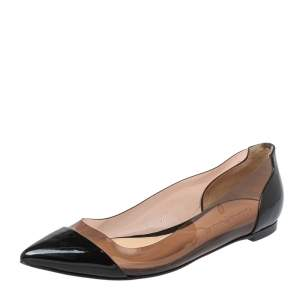 Gianvito Rossi Black Patent Leather And PVC Plexi Ballet Flats Size 39