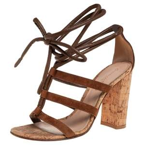 Gianvito Rossi Brown Leather And Suede Block Heel Strappy Sandals Size 37