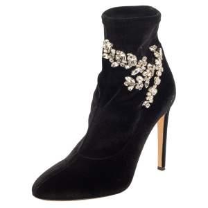 Giuseppe Zanotti Black Velvet Crystal Embellished Ankle Boots Size 41