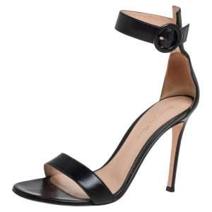 Gianvito Rossi Black Leather Portofino Ankle Strap Sandals Size 36