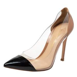 Gianvito Rossi Nude/Black Leather And PVC Plexi Pointed Toe Pumps Size 35