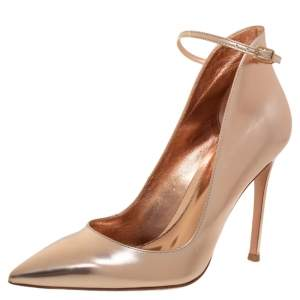 Gianvito Rossi Gold Leather Pointed Toe Ankle Strap Pumps Size 37.5