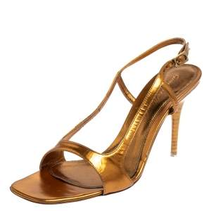 Gianvito Rossi Metallic Gold Leather Slingback Sandals Size 38.5