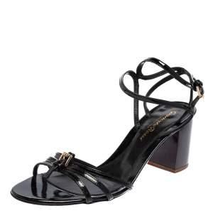 Gianvito Rossi Black Patent Leather Strappy Sandals Size 37.5