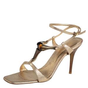 Gianvito Rossi Gold Leather Embellished Ankle Strap Sandals Size 37