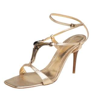 Gianvito Rossi Gold Leather Ankle Strap Sandals Size 39.5