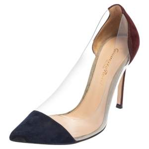 Gianvito Rossi Navy Blue/Maroon Suede and PVC Plexi Pointed Toe Pumps Size 35