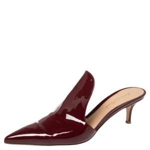 Gianvito Rossi Burgundy Patent Leather Aramis Mules Size 39.5