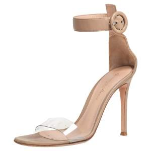 Gianvito Rossi Beige Leather And PVC Ankle Strap Sandals Size 35