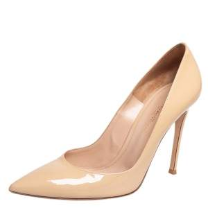 Gianvito Rossi Beige Patent Leather Gianvito Pointed Toe Pumps Size 39