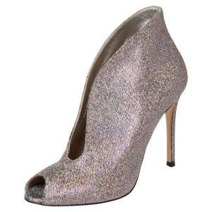 Gianvito Rossi Multicolor Metallic Foil Vamp Peep Toe Booties Size 37