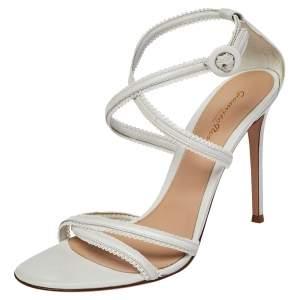 Gianvito Rossi White Leather Scalloped Bra Strap Ankle Strap Sandals Size 41
