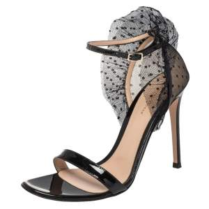 Gianvito Rossi Black Lace and Patent Leather Annabelle Ruffled Tulle Ankle Strap Sandals Size 40