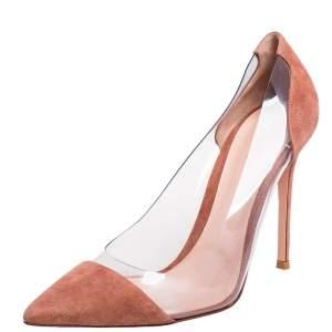 حذاء كعب عالي جيانفيتو روسي بلكسي جلد سويدي بيج  بمقدمة مدببة مقاس 41