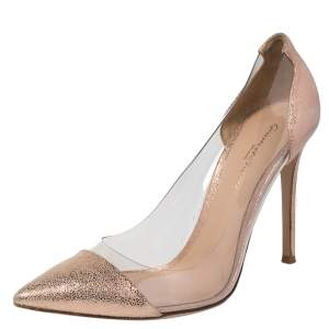 Gianvito Rossi Metallic Peach Textured Suede And PVC Plexi Pointed Toe Pumps Size 40