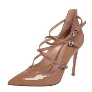 Gianvito Rossi Beige Patent Leather Crisscross Pointed Toe Pumps Size 36