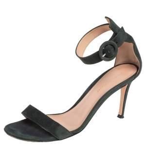 Gianvito Rossi Dark Green Suede Portofino Ankle Strap Sandals Size 38