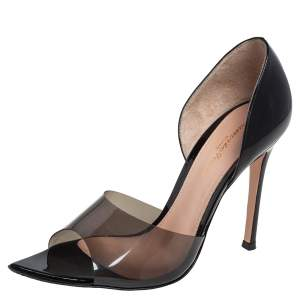 Gianvito Rossi Black Patent Leather and PVC Bree D'orsay Pumps Size 37
