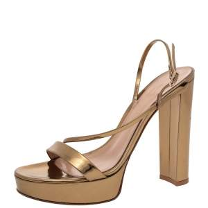 Gianvito Rossi Metallic Gold Leather Platform Ankle Strap Sandals Size 37
