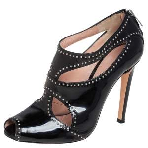 Gianvito Rossi Black Patent Leather Studded Ankle Booties Size 37
