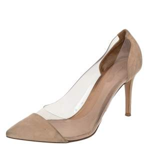 حذاء كعب عالي جيانفيتو روسي بليكسي بلاستيك مشمع وسويدي بيج مقاس 40.5