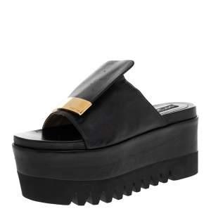 Sergio Rossi Black Leather SR1 Slide Platform Sandals Size 38