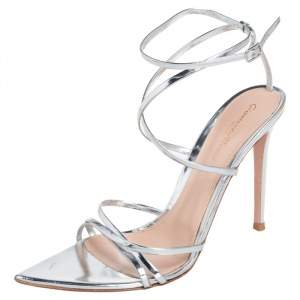 Gianvito Rossi Silver Patent Leather Strappy Pointed Toe Sandals Size 40