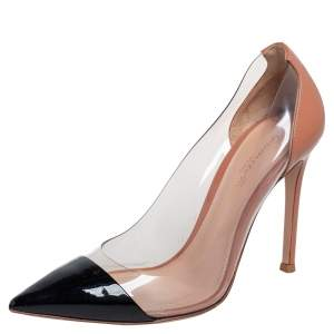 Gianvito Rossi Black/Beige Patent Leather And PVC Plexi Pointed Toe Pumps Size 36