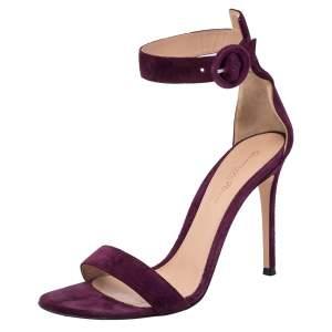 Gianvito Rossi Grape Suede Portofino Ankle Strap Sandals Size 38.5