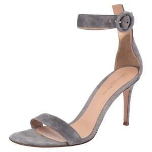 Gianvito Rossi Grey Suede Portofino Ankle Strap Sandals Size 38.5