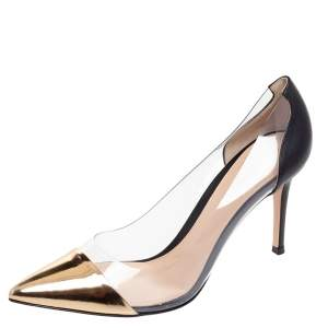 Gianvito Rossi Gold/Black Patent Leather And PVC Plexi Pointed Toe Pumps Size 40