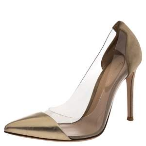 Gianvito Rossi Gold/Beige Suede, Leather And PVC Plexi Pointed Toe Pumps Size 36