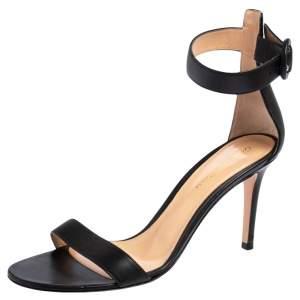 Gianvito Rossi Black Leather Portofino Ankle Strap Sandals Size 38
