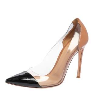 Gianvito Rossi Black/Beige Patent Leather And PVC Plexi Pointed Toe Pumps Size 38