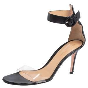 Gianvito Rossi Black Leather and PVC Portofino Ankle Strap Sandals Size 38