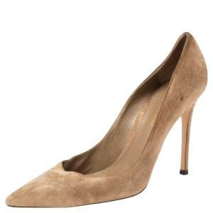Gianvito Rossi Brown Suede Pointed Toe Pumps Size 39.5