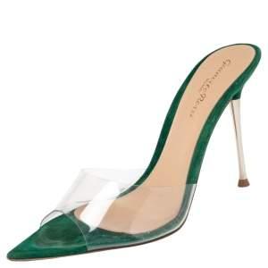 Gianvito Rossi Green  PVC Elle Mule Sandals Size 36.5
