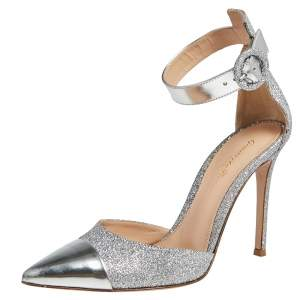 Gianvito Rossi Silver Leather And Glitter Ankle Strap Sandals Size 37.5