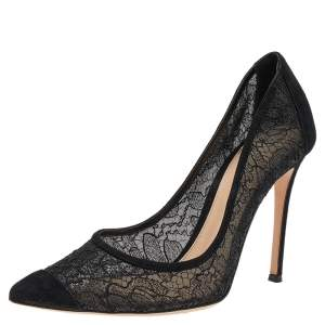 Gianvito Rossi Black Lace and Suede Pointed Toe Pumps Size 39