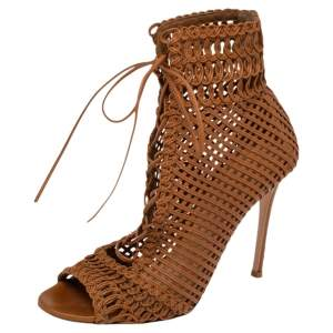 Gianvito Rossi Tan  Woven Leather Marnie Lace Up Peep Toe Ankle Booties Size  37.5
