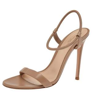 Gianvito Rossi Brown Leather Ankle Strap Sandals Size 39