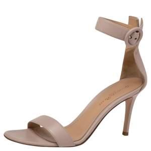 Gianvito Rossi Beige Leather Portofino Ankle Strap Sandals Size 36.5