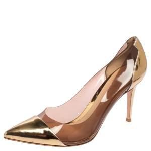 حذاء كعب عالي جيانفيتو روسي بليكسي بي في سي وجلد ذهبي مقاس 40.5